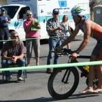 Matt Seeley dismounts